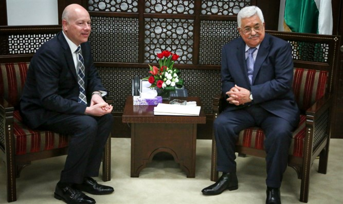 Jason Greenblatt meets with PA chief Mahmoud Abbas