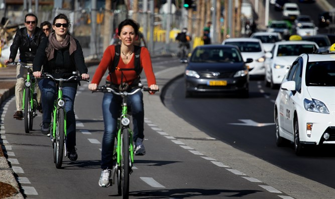Cyclists in Tel Aviv