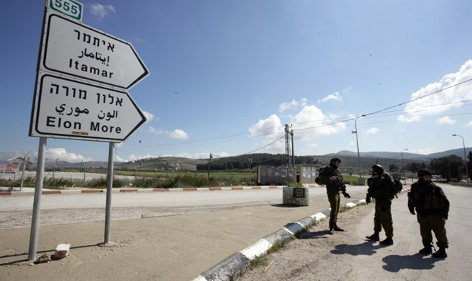 Soldiers stationed near Hawara checkpoint in Samaria