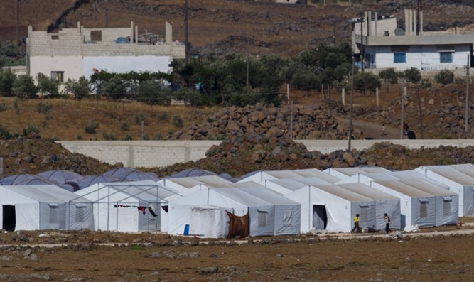 Syrian refugee camp near the Golan Heights