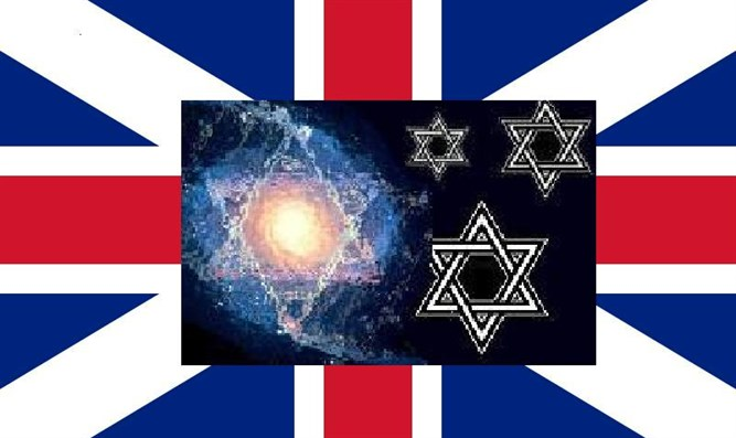 Flag of Britain and anti-Semitic poster