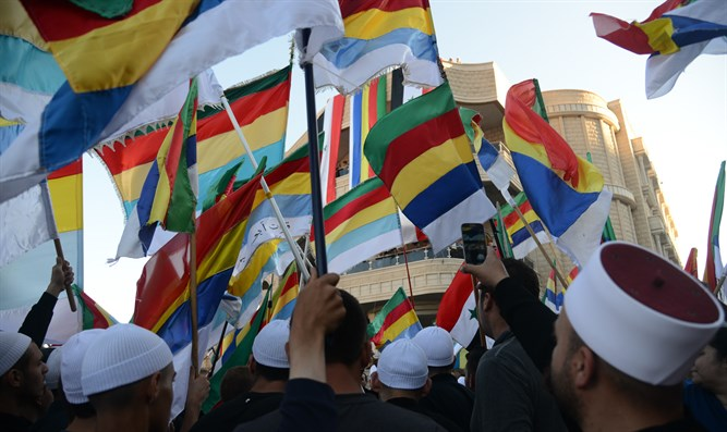 Druze in Majdal Shams, Israel, demonstrate in support of their brethren in Syria