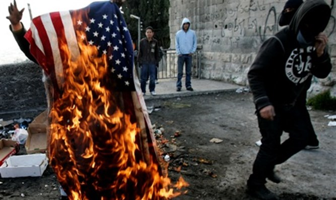 Flag burning in Ramallah