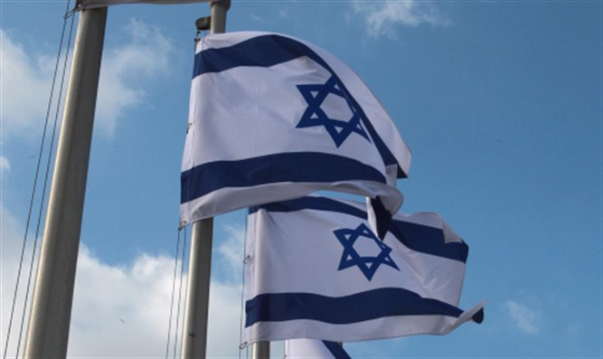 Israeli flags waving