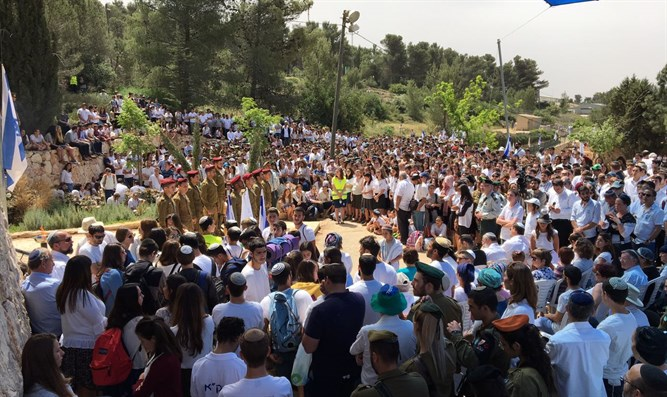 Memorial Day ceremony at Kfar Etzion cemetery