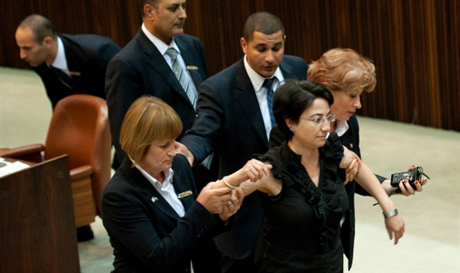 Hanin Zoabi being removed from the Knesset