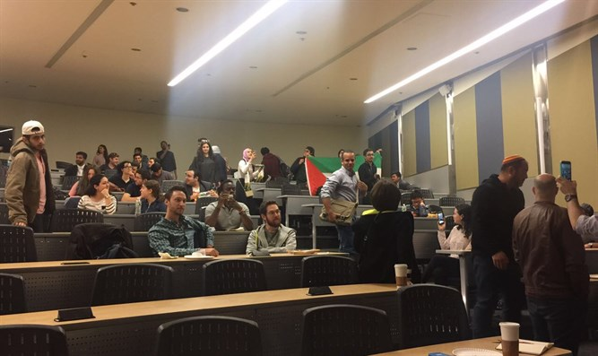 Palestinian Arab students try to interrupt Dani Dayan