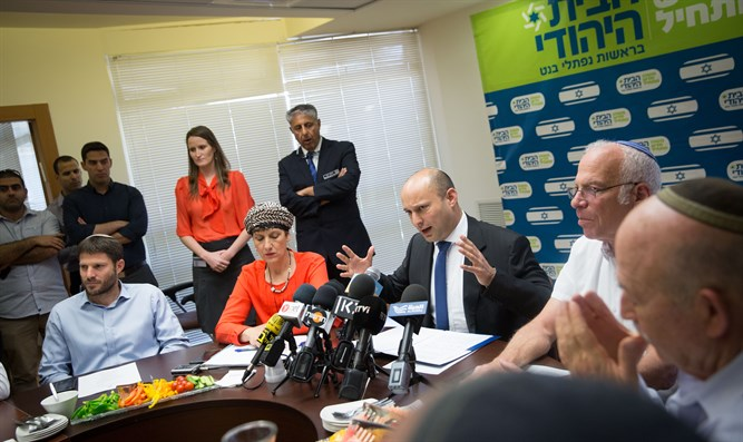 Naftali Bennett speaks at party faction meeting