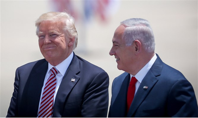 President Donald Trump and Binyamin Netanyahu at Ben Gurion Airport