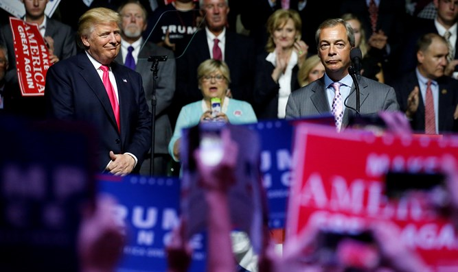 Former UKIP chief Nigel Farage with Donald Trump