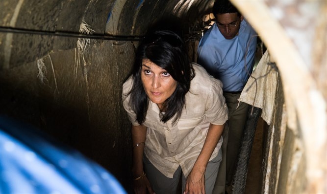 US Ambassador to UN Nikki Haley visits terror tunnels along Gaza border
