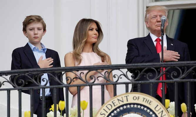 Barron Trump with Melania and President Donald