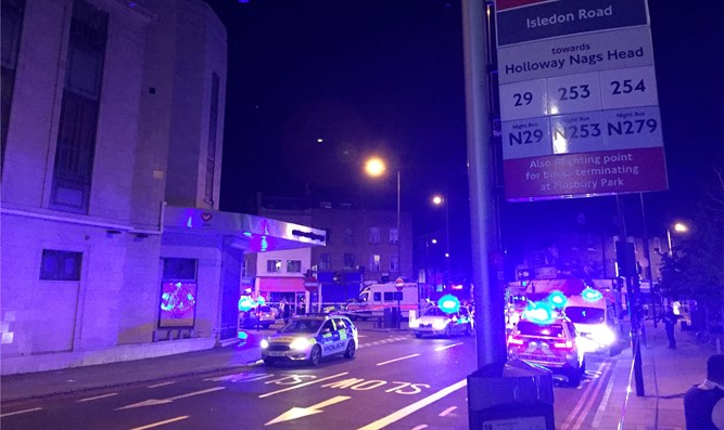 Police at the scene of Finsbury Park incident