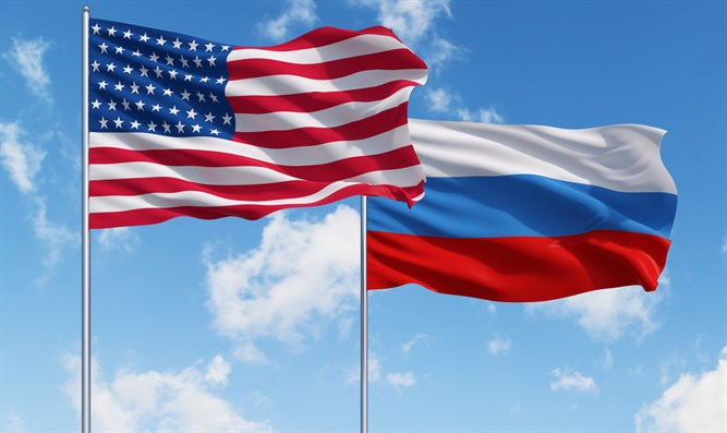 Flags of U.S. and Russia