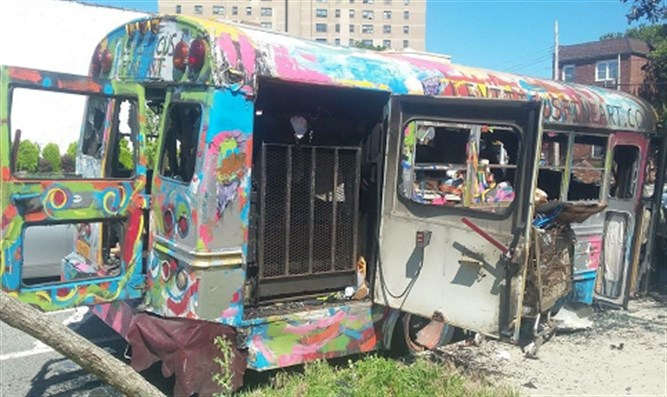 Torched 'Mitzvah bus'