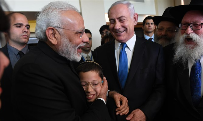 Moishy Holtzberg with PM Netanyahu and Indian PM Modi