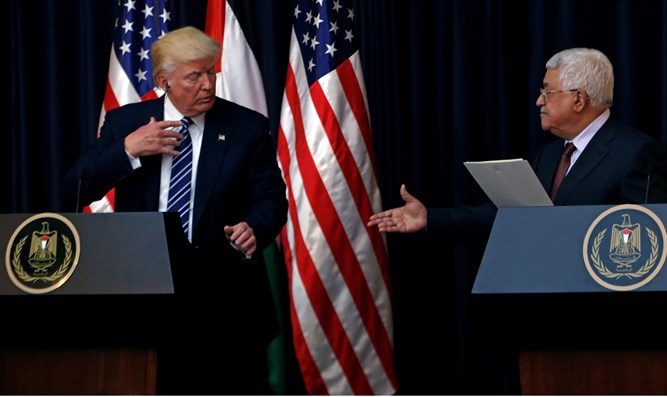 Donald Trump at join presser with Mahmoud Abbas in Bethlehem