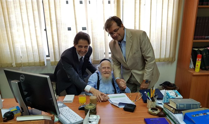 Italian Ambassador to Israel Francesco Maria Talo with Rabbi Adin Steinsaltz
