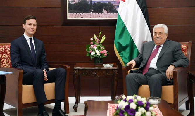 Kushner (L) and Abbas smiling for cameras; Ramallah, June, 2017