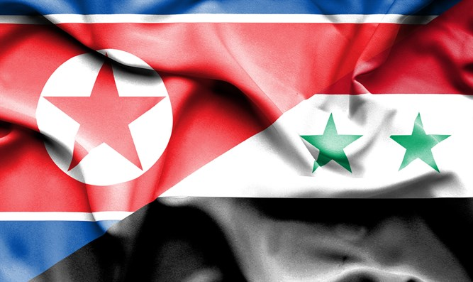 Flags of Syria and North Korea
