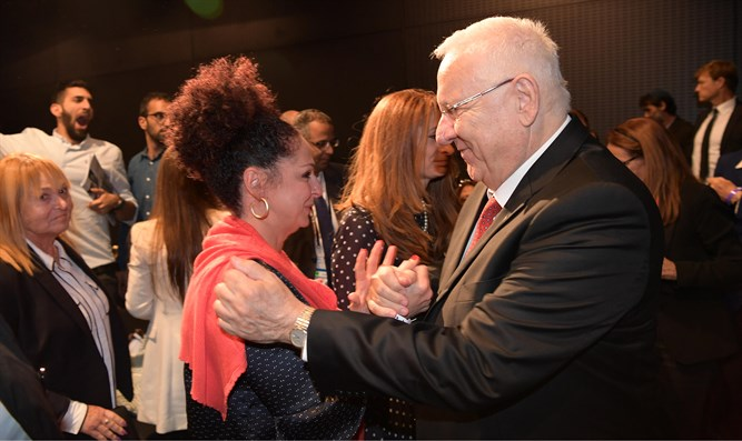 Rivlin with Shlomit Romano, daughter of the late Yosef Romano