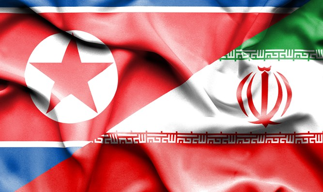 Flags of North Korea and Iran
