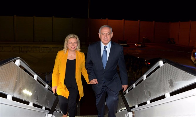 Netanyahu and his wife board the flight to Latin America