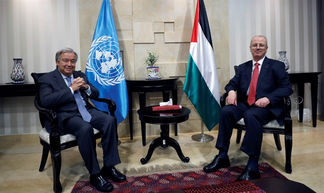 UN Secretary-General Antonio Guterres meets with PA PM Rami Hamdallah in Ramallah
