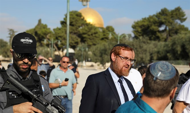 MK Yehuda Glick police escort on Temple Mount