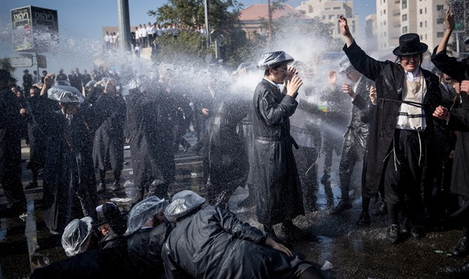 Anti-draft protesters in Jerusalem