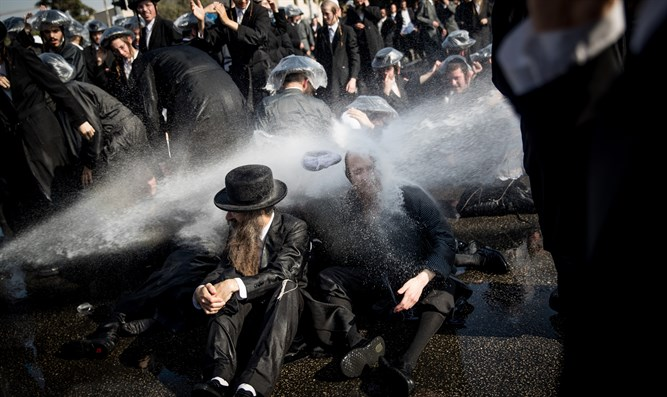 Image from haredi anti-draft protest