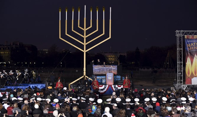 Lighting U.S. National Chanukah Menorah on Ellipse in Washington