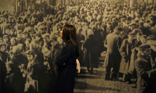 A woman visits the POLIN Museum of the History of Polish Jews in Warsaw