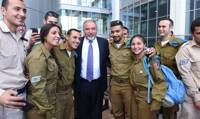 Liberman with IDF soldiers, today