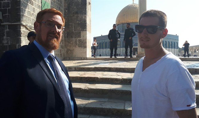 Yehuda Glick and his son on the Temple Mount