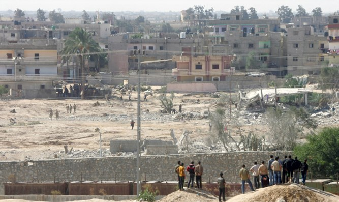 Egyptian security forces operate near the border with Gaza