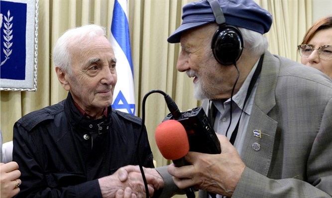 Charles Aznavour at the Presidential residence in Jerusalem