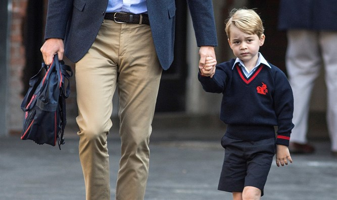 Prince George walks to school with his father, Prince William