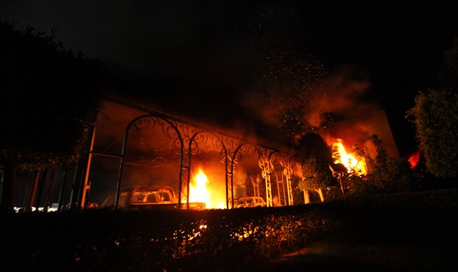 US embassy in Benghazi on fire during attack