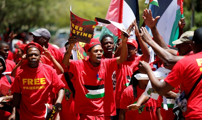 EFF demonstrators protest outside of Israel's South African embassy