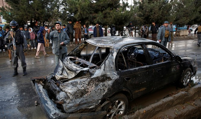 Scene of the suicide attack in Kabul, Afghanistan