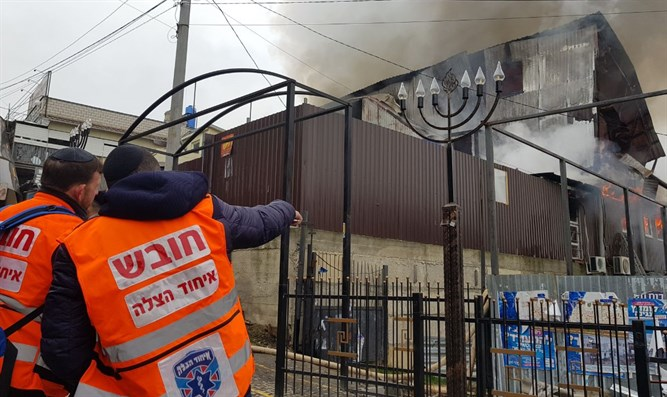 Fire next door to Rebbe Nachman's tomb in Uman, Ukraine