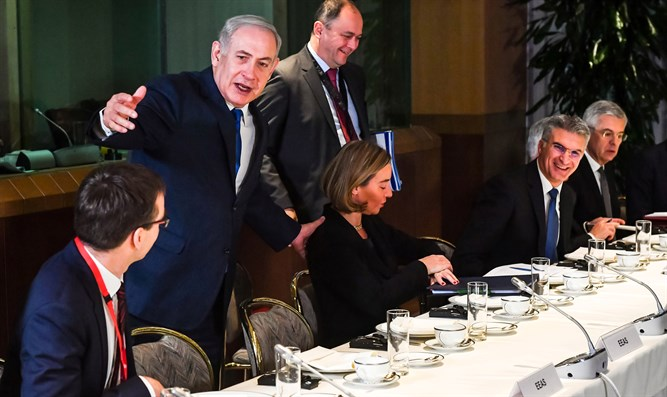 Binyamin Netanyahu meets with EU leaders in Brussels