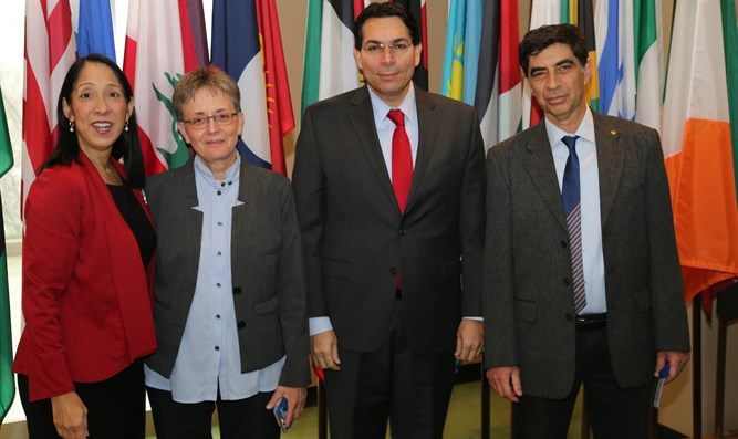 Goldin family with Ambassador Danon and Deputy U.S. Ambassador Michele Sison
