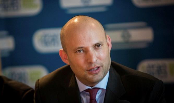 Minister of Education Naftali Bennett during Habayit Hayehudi faction meeting in Ma'ale Ad