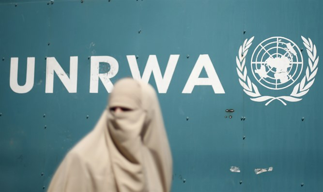Arab woman outsides UNRWA headquarters in Gaza