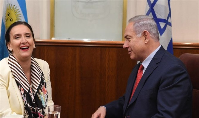 Israeli Prime Minister Benjamin Netanyahu meets with Argentina's Vice President Gabriela M