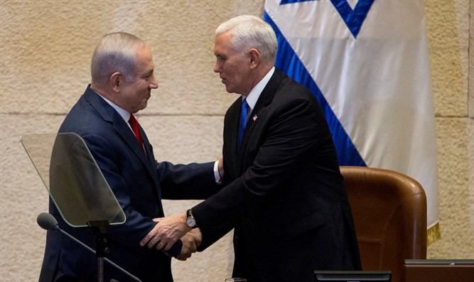 Pence shakes hands with Netanyahu in the Knesset