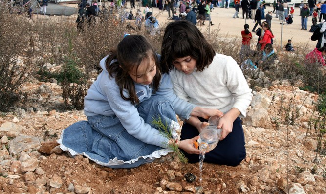 Girls planting trees on Tu B'Shvat