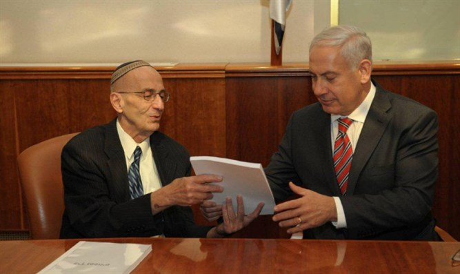 Edmond Levy presents his report to Binyamin Netanyahu